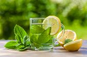 pic of peppermint  - peppermint tea with lemon on wooden table - JPG