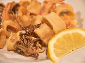 image of squid  - Fresh fried squid Calamari with lemon served in a restaurant Italy - JPG