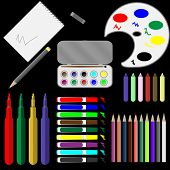 picture of paint palette  - Set of drawing tools - JPG