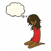 pic of nighties  - cartoon pretty girl with thought bubble - JPG