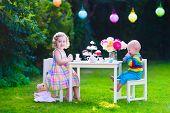 image of little young child children girl toddler  - Garden birthday party for children - JPG