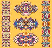 image of adornment  - ornamental ethnic yellow floral adornment - JPG