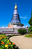 Pagoda With Blue Sky. At Chiang Mai, Thailand