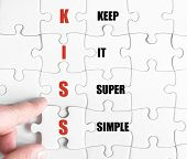 picture of hand kiss  - Hand of a business man completing the puzzle with the last missing piece - JPG