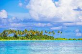 stock photo of deserted island  - Perfect white beach with turquoise water at ideal island - JPG