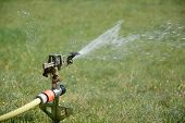 image of sprinkler  - Sprinkler splashing with water on lawn in garden - JPG