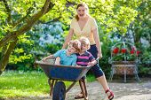 stock photo of mums  - Two little twins having fun in a wheelbarrow pushing by mum in domestic garden on warm sunny day - JPG
