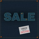 picture of denim jeans  - The illustration of  beautiful jeans sale patchwork element on a textured background - JPG