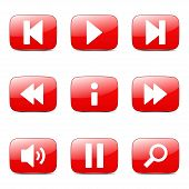 pic of controller  - Multimedia Controller Square Vector Red Icon Design Set - JPG