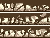 picture of galloping horse  - Set of horizontal vector banners prancing through grass galloping horses legs - JPG