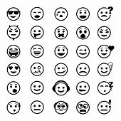 pic of angry smiley  - vector icons of smiley faces on white background - JPG
