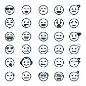 stock photo of angry smiley  - Great set of vector icons with smiley faces on white background - JPG