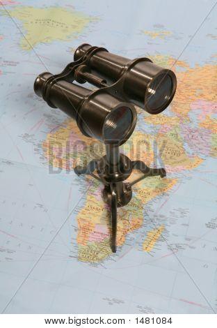 Binoculars On Map poster
