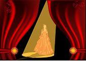 ilustração com a atriz na cortina de palco e vermelho