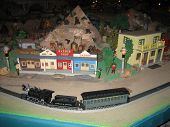 Model Train In Front Of The Saloon