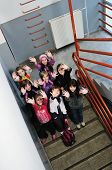 stock photo of children group  - happy children group in school have fun and representing education  and teamwork concept - JPG
