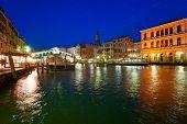 Постер, плакат: Венеция вид с моста Риальто