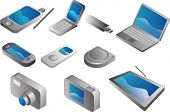 Electronic gadgets, vector clipart isometric style: pda phone, clamshell cellphone, usb pendrive, no