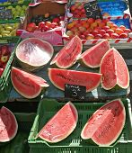 Cut watermelon for sale in a swiss market