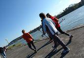 Senior People Nordic Walking