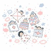 Sleeping little childrens in pink gamma. Cute doodles, vector, editable.