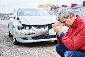 upset man after wreck car crash poster