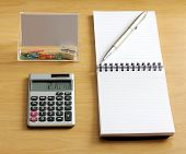 Notebook Pen Calculator Paper Clips Sharpener