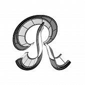 Filmstrip font. Front view. Letter r
