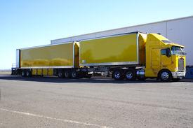 stock photo of b-double  - Articulated semi truck b - JPG