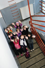 image of children group  - happy children group in school have fun and representing education  and teamwork concept - JPG