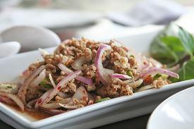 foto of thai food  - Pork and onion dish traditional thai cuisine restaurant setting - JPG