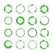 Recycling Arrows. Green Circles Arrow Biodegrade Symbols, Vector Recycle Materials Cycle Icons Isola poster