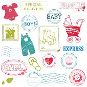 Baby Vector Stamp Collection In Color