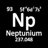 Periodic Table Element Neptunium Icon On White Background. Vector Illustration. poster