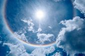 Sun Halo In The Beautiful Sky With Fluffy Clouds. poster