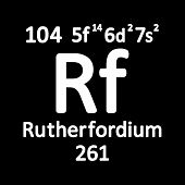 Periodic Table Element Rutherfordium Icon On White Background. Vector Illustration. poster