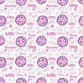 Abstract Pink Space Art For Girls. Fashion Vector Seamless Pattern Isolated On White Background. Let poster