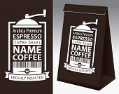 Paper Packaging With Label For Coffee Beans. Vector Label For Coffee With Coffee Grinder, Bar Code A poster