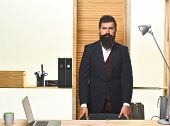 Portrait Of Bearded Businessman. Bearded Businessman Standing At Table. Successful Businessman. Offi poster