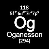 Periodic Table Element Oganesson Icon. Vector Illustration. poster