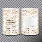 Wheat, Rice Or Maize Toast In Clear Plastic Or Cellophane Film Pack. Vector Bread Package Design. 3d poster