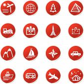 Red Sticker Travel Icons poster