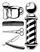 stock photo of barber razor  - Black and white cartoon barbershop set featuring many of the things associated with an old school barbershop - JPG