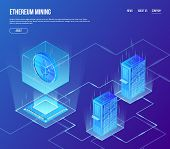 Vector Isometric Ethereum Blockchain Mining Concept. Ethereum Coin In Transparent Cube With Processo poster