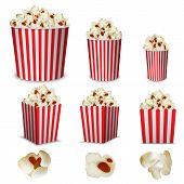 Popcorn Cinema Box Striped Mockup Set. Realistic Illustration Of 9 Popcorn Cinema Box Striped Mockup poster
