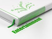 Entertainment, Concept: Closed Book With Green Fireworks Icon And Text Entertainment On Floor, White poster