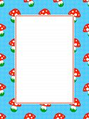 blue polka dot pattern frame with red toadstool mushroom