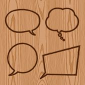speech bubbles brand collection on wood pattern background