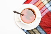 Mug Filled With Hot Black Brewed Tea And Spoon On Colorful Cozy Plaid Background. Tea Mug With Dippe poster