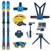 Ski Equipment Or Ski Kit. Extreme Winter Sports. Ski, Ski Camera, Ski Boots And Other Extreme Ski Cl poster